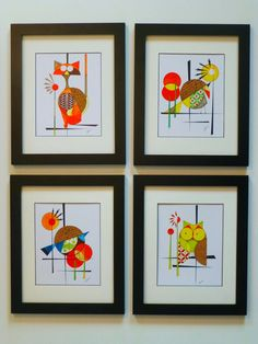 Whimsical Four Piece Set Original Owl and Bird by COLBYandFRIENDS