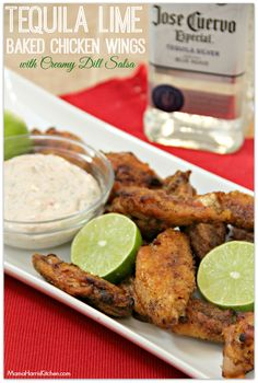 Tequila Lime Baked Chicken Wings with Creamy Dill Salsa - Mama Harris' Kitchen #ChicksWingIt #WingItWednesday [[These tequila lime baked chicken wings with creamy dill salsa are perfect for game day fun, it's like a margarita packaged up in your favorite crispy wings.]]