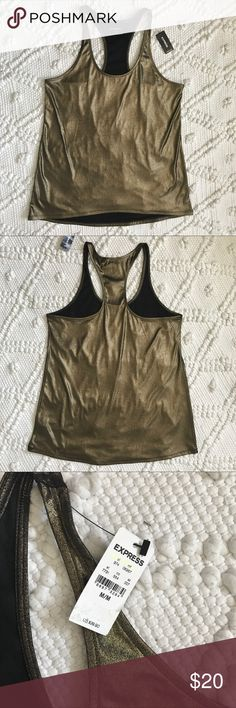Express Gold Lame tank top Sleeveless Racerback Express woman's tank top, brand new with tags. Gold metallic fabric, great for going out to special occasions. See photos for details and message me if you have any questions. Express Tops Tank Tops