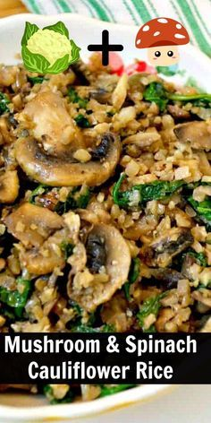 Side Dishes For Chicken, Rice Side Dishes, Veggie Side Dishes, Side Dish Recipes, Healthy Sides For Chicken, Chicken Sides, Mushroom Side Dishes, Healthy Rice Recipes, Healthy Low Carb Dinners