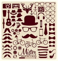 Hipster icons collection Free Vector