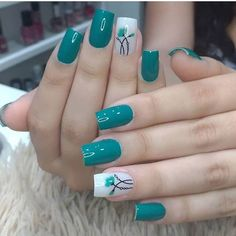 Nail art is a very popular trend these days and every woman you meet seems to have beautiful nails. It used to be that women would just go get a manicure or pedicure to get their nails trimmed and shaped with just a few coats of plain nail polish. Simple Nail Art Designs, Nail Designs, Cute Nails, Pretty Nails, Green Nails, Green Nail Art, Blue Nail, Green Art, Nagel Gel