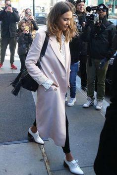 Jessica Alba wearing Rebecca Minkoff Renee Satchel Bag, Brock Collection Blush Caroline Coat, Bassike Dot Silk Shirt and DL1961 Margaux Skinny Jeans in Busted