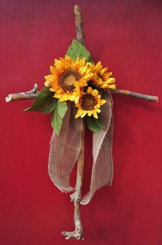 "Laughing Horse Studio: Rustic Cross with Sunflower 28"" x 18"" - $29.00 plus shipping"