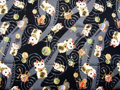 Would make a beautiful washi paper for origami ... Japanese Fabric Maneki Neko Lucky Cat Black by FromJapanWithLove, $8.50