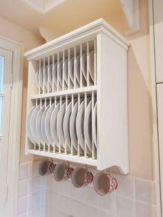 Plate Racks In Kitchen, Plate Rack Wall, Diy Plate Rack, Plate Shelves, Plate Storage, Kitchen Cupboards, Plates On Wall, Storage Racks, Kitchen Wood