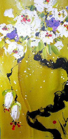 Title: Sumi e Gold By: Danielle O'Connor Akiyama Mixed Media Journal, House Art, Canadian Artists, Koi, Flower Art, Journals, Art Projects, Oriental, Asian