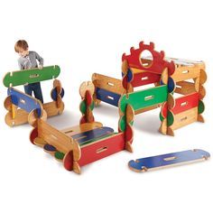 Wooden Fort-Playhouse Building Kit Let your little constructors build their own fortresses, houses, towers or playhouses with the same ease as putting together a puzzle. #puzzle #playhouse