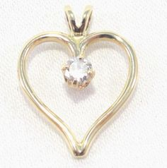 14k Solid Gold Diamond Heart Pendant Open Heart Gorgeous Diamond! Free Shipping #Pendant