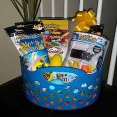 Give a unique treat this Easter with a beautifully hand created gift basket for any Pokemon fan filled with lots of goodies and treats that they will LOVE! Pre Filled Easter Baskets, Easter Gift Baskets, Basket Gift, Hoppy Easter, Easter Bunny, Easter Eggs, Pokemon Easter Basket, Raffle Baskets, Pokemon Party