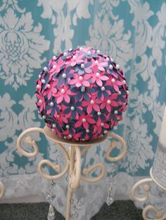 Flower Pomander BallPaperNavy and Pink by CassCouture12 on Etsy, $9.50