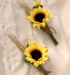 Sunflower boutonniere Bridal party accessories groom, groomsmen buttonholes silk Sunflower Wedding Flowers, artificial summer bridal ideas via Etsy