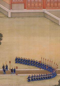 雍正帝祭祀神農圖                                 The Yongzheng Emperor Offering Sacrifices at the Altar of the God of Agriculture (detail), by anonymous court artists, 1723—35. Handscroll, colour on silk. The Palace Museum, Beijing.