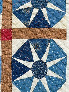 Detail, NEAT scrap INDIGO BLUE unusual OCTAGON STARS generational vintage antique quilt, eBay, fourthcornerfinds