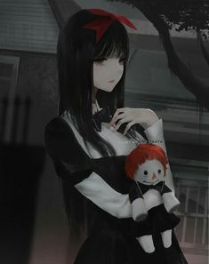 Anime picture original hate-chan (aoi ogata) aoi ogata long hair single tall image looking at viewer black hair fringe standing holding signed black eyes upper body outdoors dark puffy sleeves hand on chest girl bow 534886 en Dark Anime Girl, Manga Girl, Emo Anime Girl, 5 Anime, Chica Anime Manga, Fanarts Anime, Anime Characters, Kawaii Anime, Manga Japan