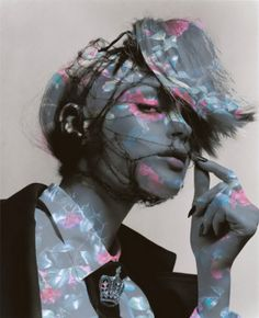 Regal and Edgy Floral Overlay / Projection | Morning Beauty | Jessica Stam by Sølve Sundsbø