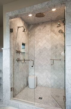 Love this marble herringbone shower | Source marble tiles like this from Mandarin Stone