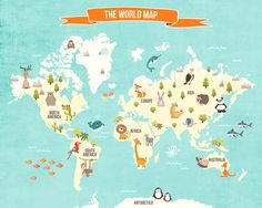 World map decal World map animals Animal door Anietillustration