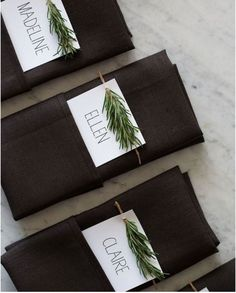 Pine Tree Branch Place Cards: Give your guests a little green for finding their place at your reception. | 10 Gorgeous Evergreen Wedding Arrangements