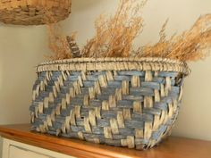 blue & white basket on my keepingroom cupboard...filled with dried sweet annie ~