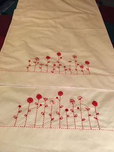 2 Vintage Style Pillowcases Red Yoyo Flower by AnniesUPAttic
