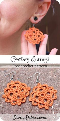 Earrings, a fun, easy, and super customizable, from a free crochet pattern on DivineDebris.com #crochet #freepattern #earrings Crochet Pattern Free, Crochet Thread Patterns, Crochet Thread Size 10, Crochet Jewelry Patterns, Crochet Earrings Pattern, Knit Or Crochet, Crochet Accessories, Double Crochet, Doily Patterns