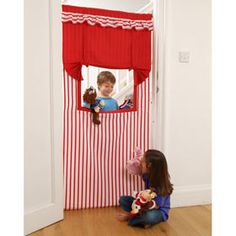 Doorway puppet theatre - I made one of these long ago. So fun!