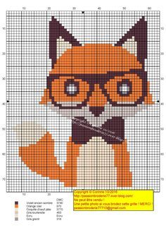Fox with glasses and a bowtie cross stitch.