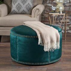 Jaewon Studded Velvet Round Ottoman Stool by Christopher Knight Home