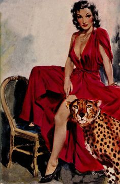 "vintagecoolillustrated: """"The Lady and the Cheetah"" art by Barye Phillips. """