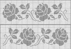 Filet Crochet Charts, Crochet Stitches, Embroidery Stitches, Embroidery Patterns, Cross Stitch Patterns, Crochet Snowflake Pattern, Crochet Borders, Crochet Cross, Crochet Lace
