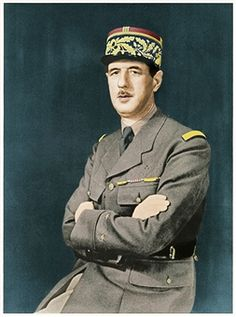 Charles Andre Joseph Marie De Gaulle, 1940. De Gaulle (1890-1970}, French soldier, statesman and author in uniform as a General. During WWII he was leader of the Free French and in 1944, after the liberation, he became head of the provisional government. In December 1958 he was elected first president of the Fifth Republic. (Colorised black and white print). Artist Unknown. Pin by Paolo Marzioli