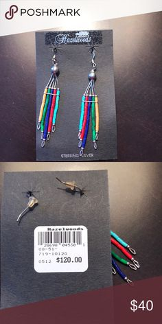 Sterling silver drop earrings Beautiful, colorful sterling silver and turquoise bead earrings.  Made by the Indians and purchased in Colorado.  Absolutely stunning!! Jewelry Earrings