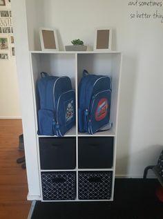 School Bag Organization, School Bag Storage, Home Organization Hacks, Kids Storage, Organizing, Moving New House, Drop Zone, Hallway Storage, Shared Rooms