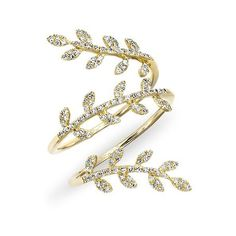 Anne Sisteron  14KT Yellow Gold Diamond Vine Wrap Ring ($1,315) ❤ liked on Polyvore featuring jewelry, rings, joias, gold, gold vine ring, diamond vine ring, gold jewellery, diamond jewelry and gold rings