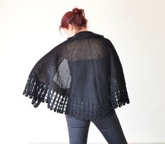 Black Bolero, Handmade Shawl, Crochet Shawl, Wedding Shawl, Bridal Capelet, Crochet Accessories, ReddApple on Etsy, $89.00