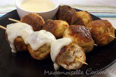 Boulettes+de+poulet+au+chorizo,+sauce+au+fromage...