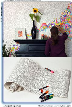 I love, LOVE, love coloring!  So to have the chance to color my own wallpaper would be AWESOME!  Maybe I could get this to go in my den area, and color when I am on the phone or waiting for something to print!!!!!!