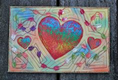 Bright Dancing Hearts Handmade Quilted Fabric Postcard. By Betsy Brown TootsieLu Designs