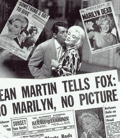 """After Marilyn Monroe was fired from """"Something's Got To Give"""", Dean Martin refused to work with any other leading lady, and walked. Marilyn was eventually re-hired but died before filming could resume. Marilyn Monroe Books, Marilyn Monroe Death, Liz Smith, Angie Dickinson, Tony Curtis, Candle In The Wind, Old Hollywood, Hollywood Stars"""