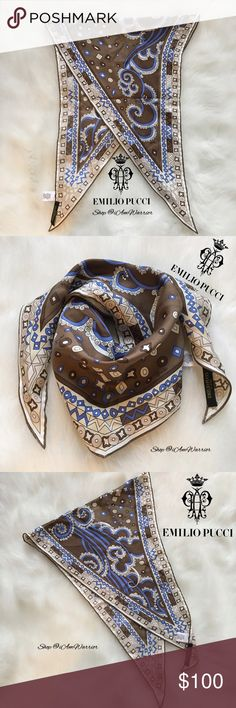 """Emilio Pucci silk neck scarf Gorgeous genuine/authentic Emilio Pucci 100% silk blue, cream & brown patterned asymmetrical neck scarf. Approx 41""""x15"""" at the longest & widest width. Excellent like new condition, smoke free home. Please read my recently updated bio regarding closet policies prior to any inquiries. Emilio Pucci Accessories Scarves & Wraps"""