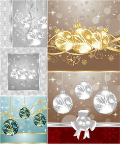 Cards with Christmas tree balls vector