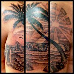 Tropical scene Tattooed by Jillian Karosa at Damask Tattoo in Seattle, WA tropical tattoo, palm tree tattoo, beach tattoo, island tattoo, sun tattoo, surfing tattoo