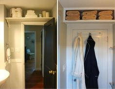 13 design ideas to smartly organize a tiny bathroom Small Bathroom Organization, Bathroom Storage, Bathroom Interior, Bath Panel Storage, Lavabo D Angle, Corner Sink, Tiny Bathrooms, Glass Shower Doors, Built In Shelves
