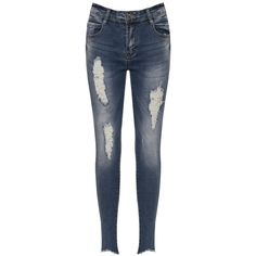 WearAll Distressed Torn Leg Low Rise Skinny Jeans ($34) ❤ liked on Polyvore featuring jeans, blue, denim skinny jeans, blue skinny jeans, super skinny jeans, stretchy jeans and ripped skinny jeans