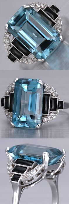 Art Deco Aquamarine Ring This Art Deco aquamarine ring in antique style is crafted in lavish platinum, weighs 5.3g and measures 14mm wide an...