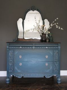 SOLD*** Antique painted chest of drawers, dresser, ornate mirror,  teal…