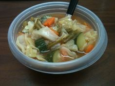 Weight Watchers 0 Point  Garden Vegetable  Soup ....this one has spinach and no cabbage
