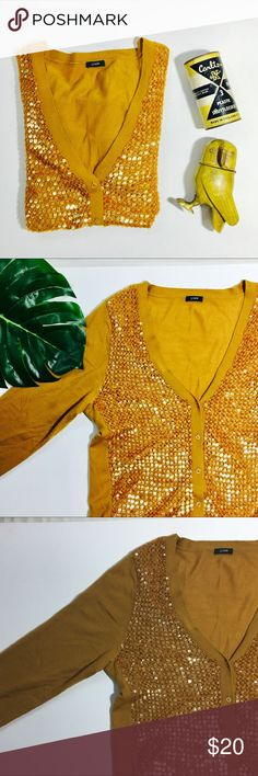 J.Crew sequin cardigan Mustard gold sequin cardigan. Size not marked- determined to by medium but happy to measure if you'd like. Some wear under arms and at waist- see pics. J. Crew Sweaters Cardigans