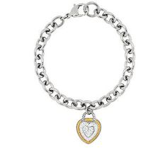 Steel By Design Heart and Rope Charm Bracelet